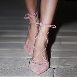 Shoespie Pink Lace Up Ballet Stiletto Heels