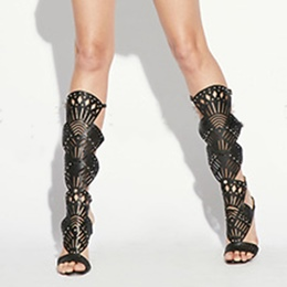 Shoespie Removable Shaft Cutout Gladiator Dress Sandal Boots