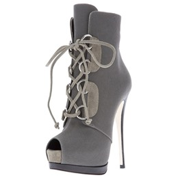 Shoespie Androgynous Designs Canvas Peep Toe Ankle Boots