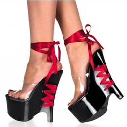 Shoespie Sexy Black and Red Ankle Lace Up Party Wedge Sandals