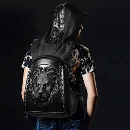 Shoespie Hip Hop Style Black Rivets Lion Shape Hooded Backpack