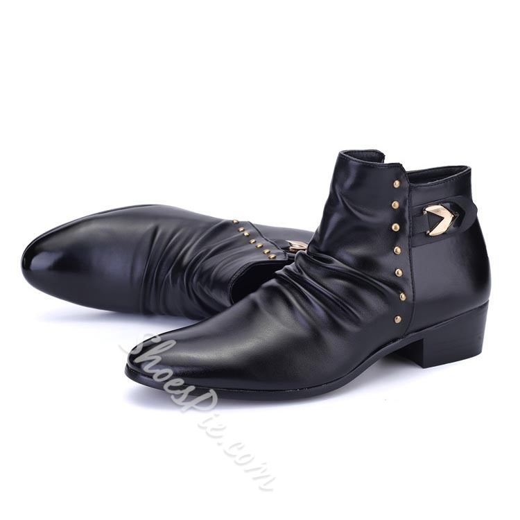 Shoespie Pointed Toe Ruffled Men's Shoes