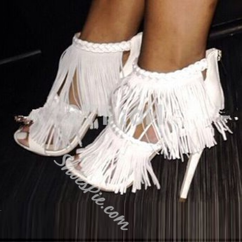 Shoespie White Color Thick Tassels Party Dress Sandals