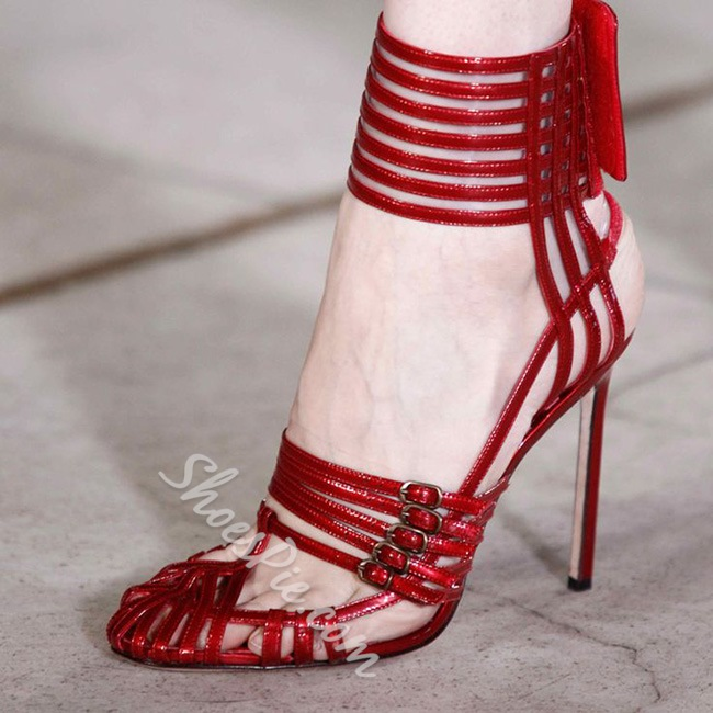 Shoespie Red Narrow Strappy Ankle Wrapped Velcro Dress Sandals
