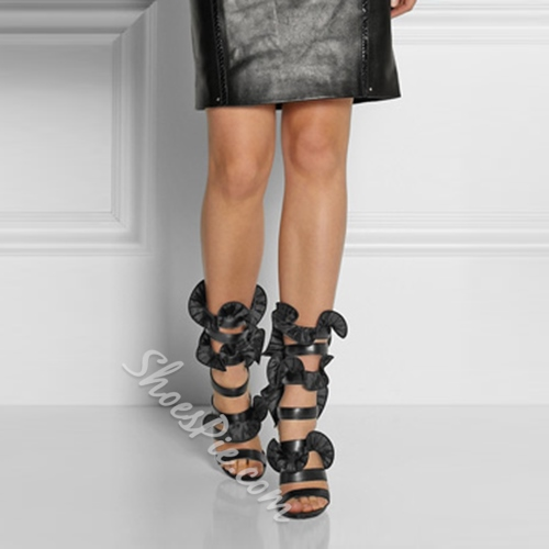 Shoespie Elegant Ruffles Dress Sandals