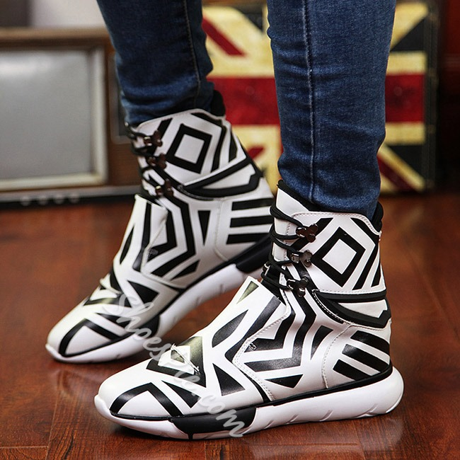 Shoespie Black and White GeometricPatterns Men's Sneaker Boots