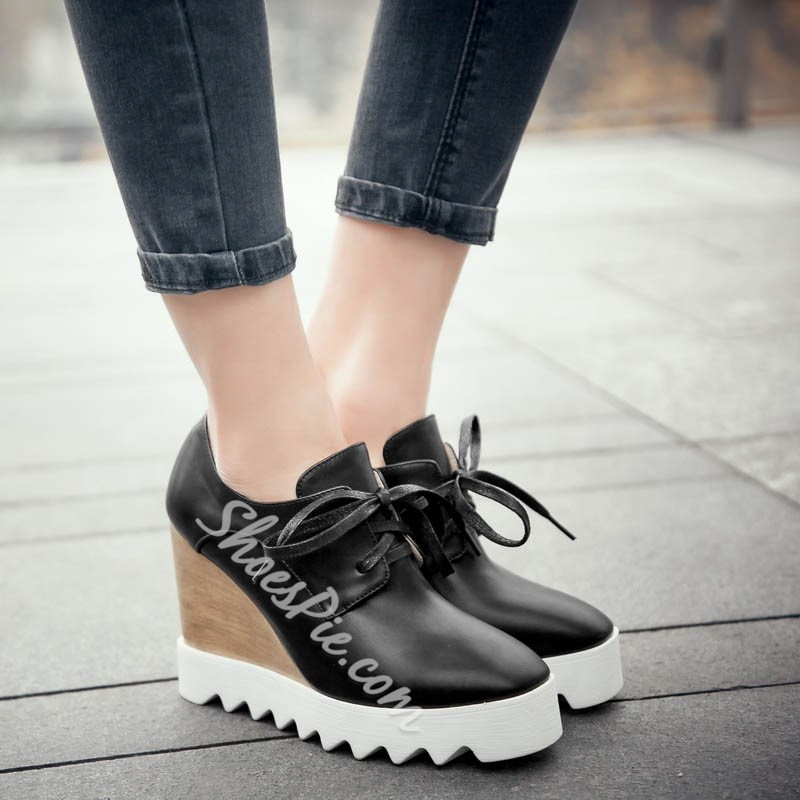 Shoespie Wooden Wedge Lace Up Sneakers