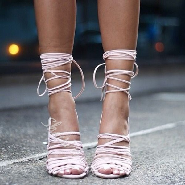Shoespie Cute Pink Lace Up Gladiator Sandals