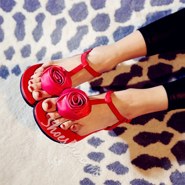 Shoespie Sweet Flower Thong Flat Sandals