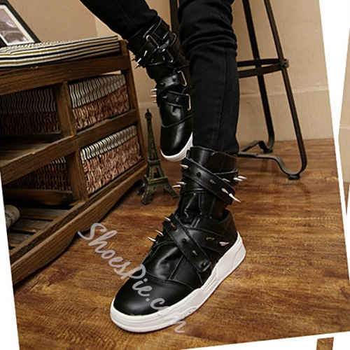 Shoespie Rivets Cross Velcro Men's Sneaker Boots