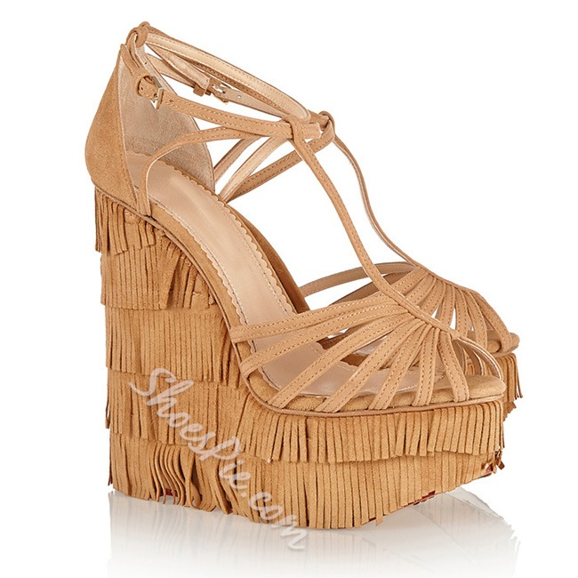 Shoespie Hobo Bohemian Multi Tassels Wedge Dress Sandals