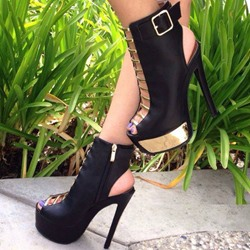 Shoespie Black Caged Backless Buckled Platform Heels