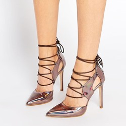 Shoespie Chic Sliver Lace Up Stiletto Heels