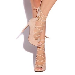 Shoespie Elegant Peep Toe Lace Up Stiletto Heels
