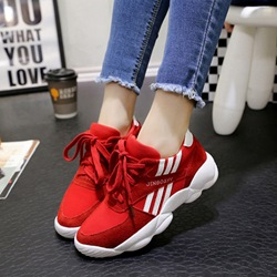 Shoespie Thick Sole Lace Up Sneakers