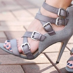 Shoespie Gray Color Multi Buckles Party Sandals