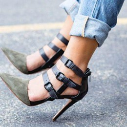 Shoespie Slouchy Buckles D'orsay Stiletto Heels