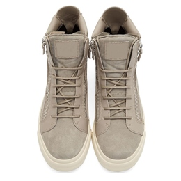 Shoespie Gray Zipper Decorated Lace Up Men's Sneakers
