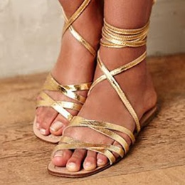 Shoespie Golden Wrap Up Flat Gladiator Sandals