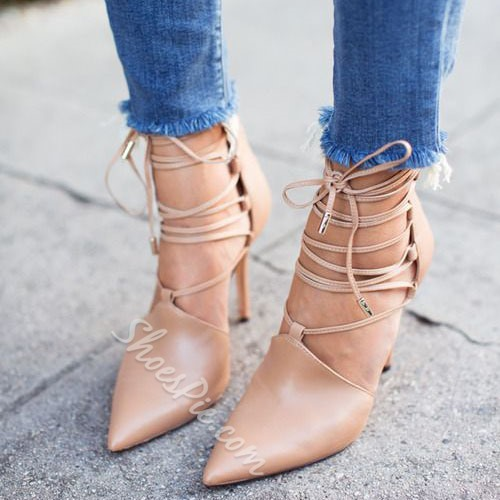 Shoespie Classy Nude Lace Up Stiletto Heels Shoespie