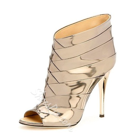 Shoespie Golden Peep Toe Stiletto Heel Ankle Boots