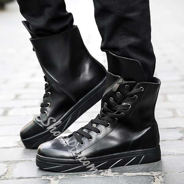Shoespie Unique Lace Up Zipper Men's Boots