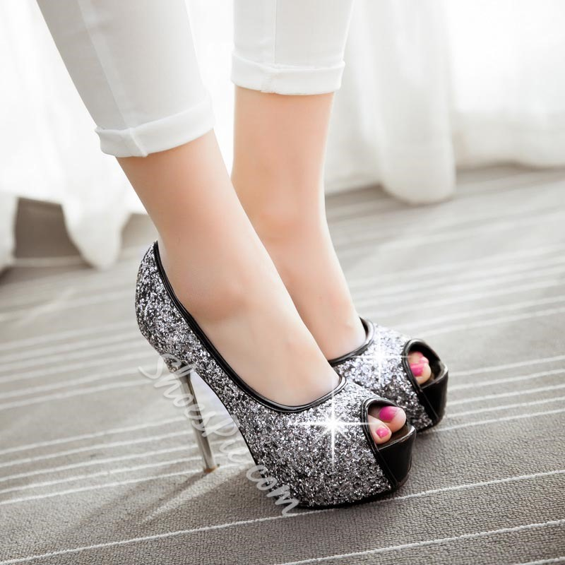 Shoespie Sequined Peep Toe Platform Heels