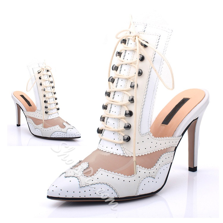 Shoespie Poited Toe Front Carving Lace Up Slip On Slippers Dress Sandals