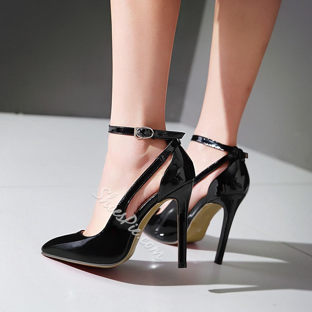 Shoespie Elegant Cut Out Ankle Wrap Stiletto Heels