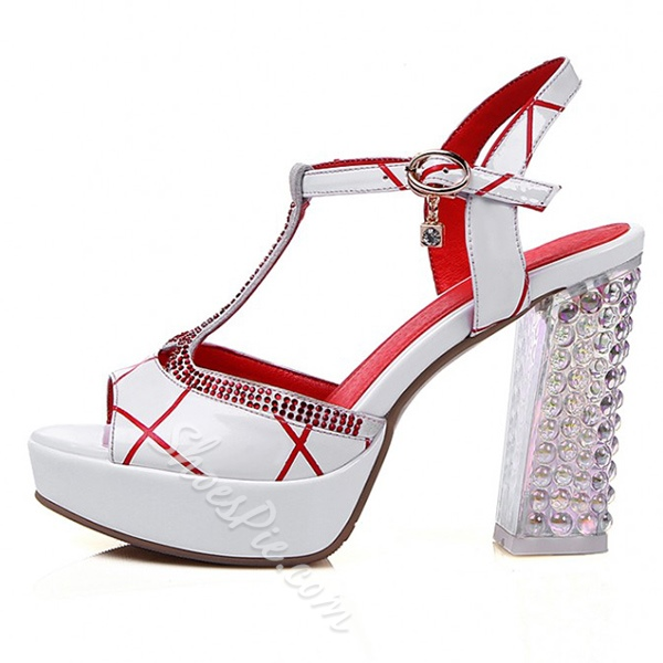 Shoespie White and Red Rhinestone Platform Dress Sandals