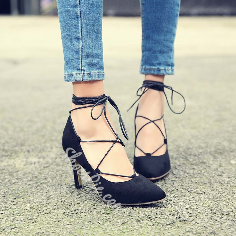 Shoespie Lace Up Low Heel Shoes