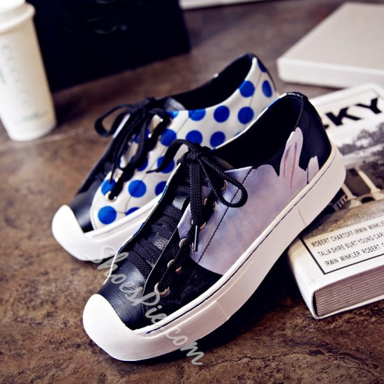 Shoespie Genuine Leather Dots Flower Print Designer Sneakers