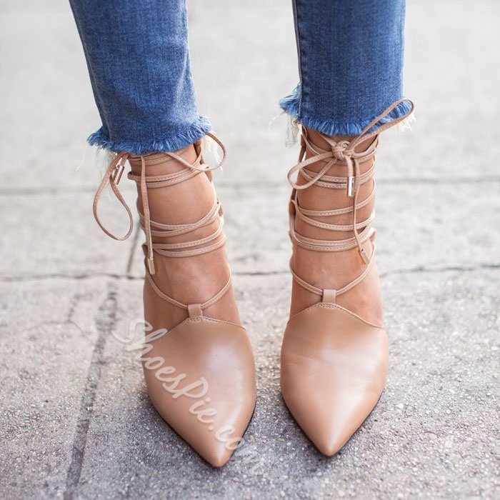 Shoespie Classy Nude Lace Up Stiletto Heels