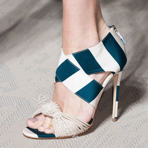 Shoespie Blue and White Wide Strap Dress Sandals
