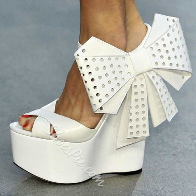 Shoespie Sweet White Color Big Side Bowtie Wedge Sandals
