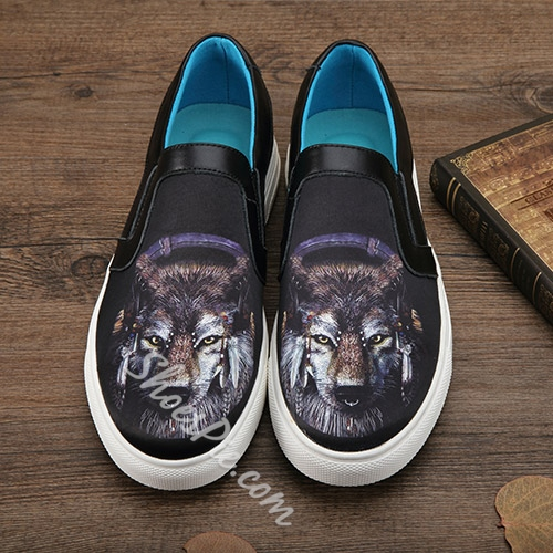 Shoespie Wild Beasts Print Men's Loafers