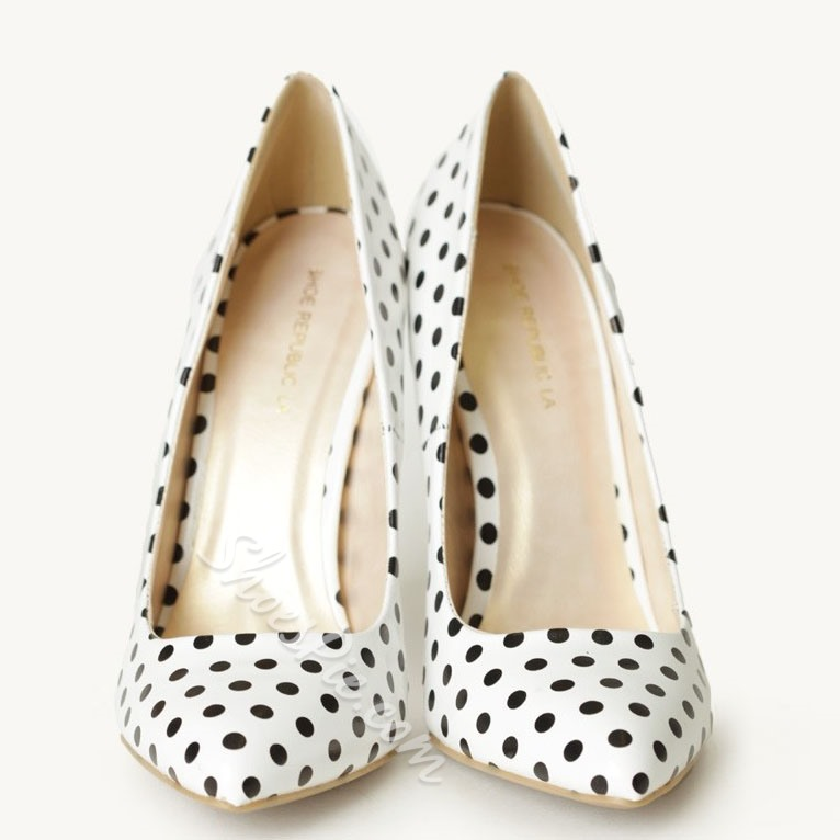 Shoespie Sweet White Polk Dot Stiletto Heels