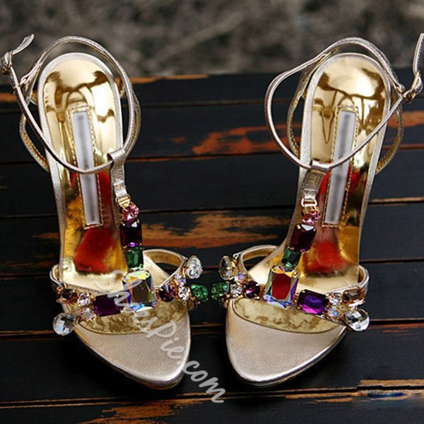 Shoespie Colorful Rhinestone Dress Sandals