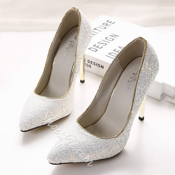 Shoespie Glittering Pointed Toe Bridal Heels