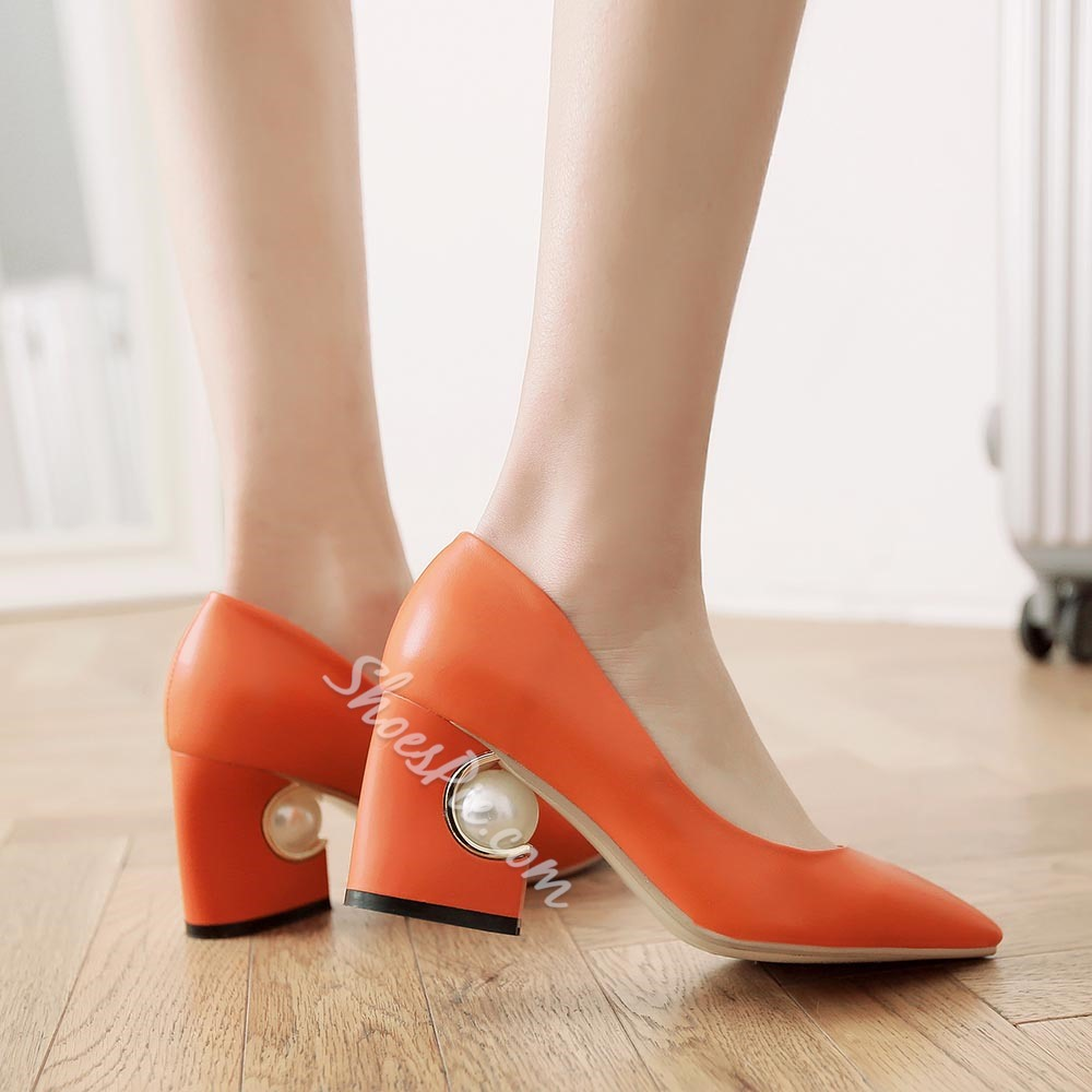 Shoespie Slouchy Pointed Toe Chunky Heel Pumps