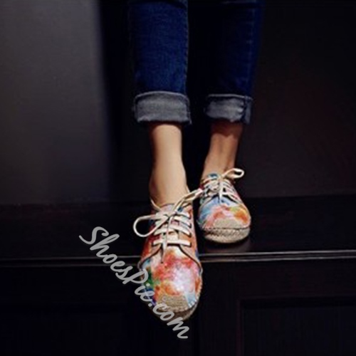 Shoespie Flower Print Lace Up Sneakers