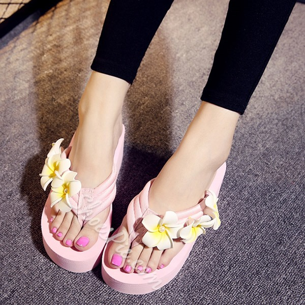 Shoespie Sweet Flower Appliques Beach Thong Slippers