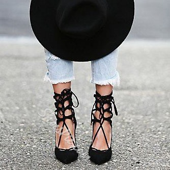 Shoespie Suede Lace Up Stiletto Heels