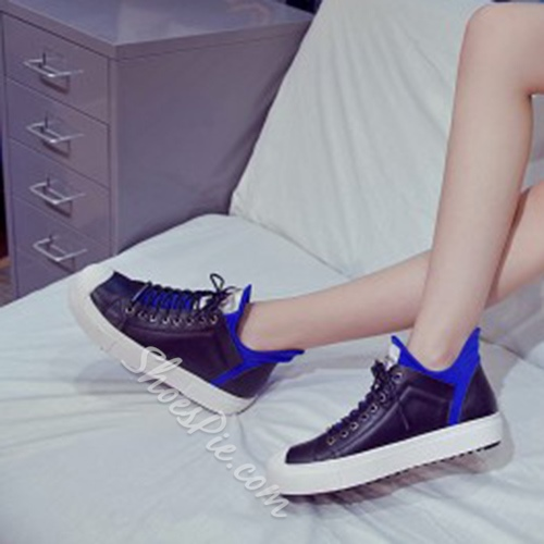 Shoespie Genuine Leather Color Contrast Sneakers