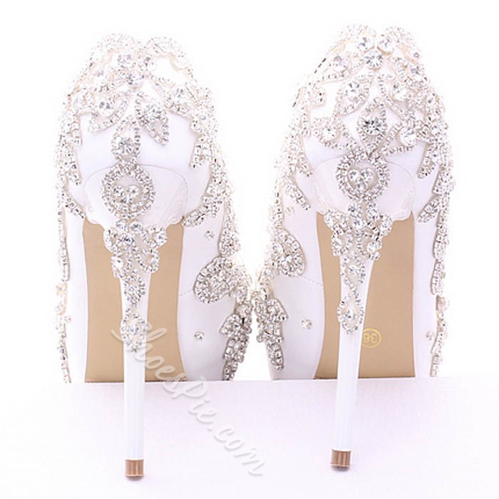 Shoespie Embroidered Platform Heel Bridal Shoes