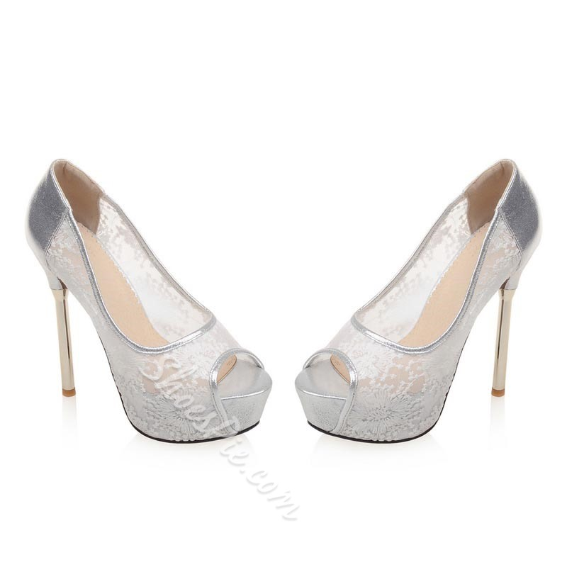Shoespie Sweet Lace Peep Toe Platform Heels