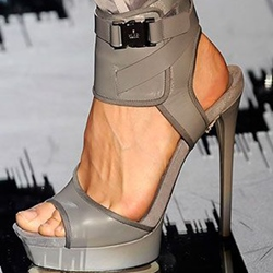 Shoepie Punk Style Gray Color Ankle Wrapped Dress Sandals