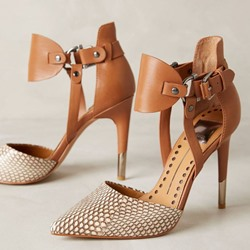 Shoespie Brown Snake Pattern Buckle Stiletto Heels