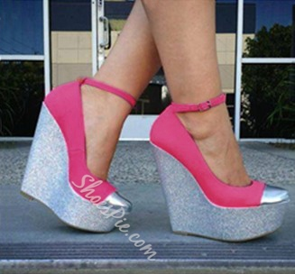 Fashionable Rose & Gray Contrast Colour Wedge Heel Platform Shoes