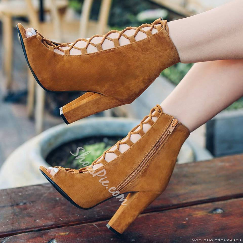 Shoespie Brown Lace Up Chunky Heel Ankle Boots